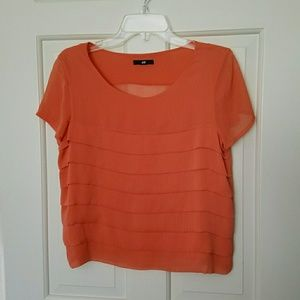 H&M Short Sleeved Ruffle Front Top